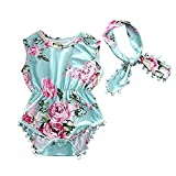 Cute Adorable Floral Romper Baby Girls Sleeveless Tassel Romper One-pieces +Headband Sunsuit Outfit Clothes (6-12 Months, Green) (Color: Green, Tamaño: 6 - 12 Months)