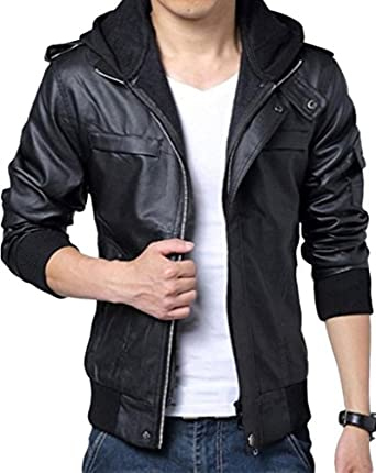 Wantdo Men's Fashion Faux Jackets Pu Leather Jackets With Removable Hood With Gift Wantdo Men s Fashion Zipper