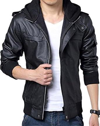 Wantdo Men's Fashion Faux Jackets Pu Leather Jackets With Removable Hood With Gift Wantdo Men s Fashion Zipper