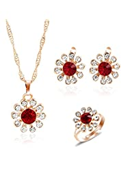 Valentine Gift By Shining Diva 18k Gold Plated Austrian Diamond Studded Necklace Earrings Ring Jewelry Set For...
