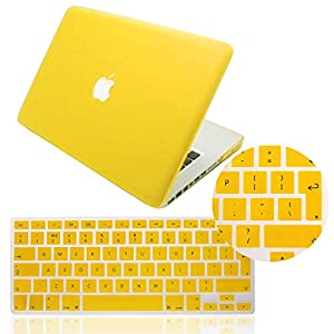 IDACA Yellow Frosted Matte Hard Shell Case Cover for Macbook Pro 13.3 -inch A1278 Aluminum Unibody with Silicone Keyboard Cover Skin Stickers Protector (European Version)