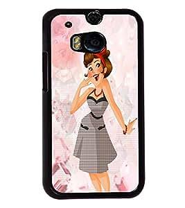 Fuson Grey Dress Girl Back Case Cover for HTC ONE M8 EYE - D3851
