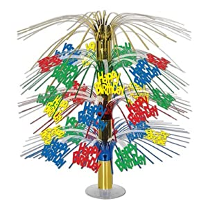 Beistle 57332-MC Happy Birthday Cascade Centerpiece, 18-Inch