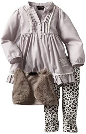 Calvin Klein Baby-girls Infant Tunic with Small Vest And Printed Pant, Assorted, 12 Months