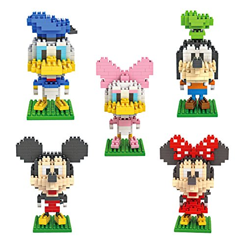 Micky Minnie Donald Duck Daisy Duck Goofy - Pack of 5 LOZ Nanoblock Disney Collection Total 1190pcs