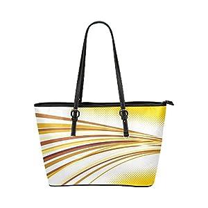 Women's Leather Large Tote HandBag Yellow Curve Shoulder Bag