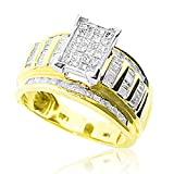 10K Yellow Gold Wedding Ring 1ctw Diamonds Princess Baguette Round