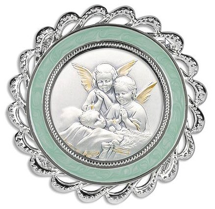 Guardian Angels At Bedside Crib Medal Blue- Each Swarovski Crystal Crib Medal Comes In A Satin-Lined Gift Box That Matches The Color Of The Frame.