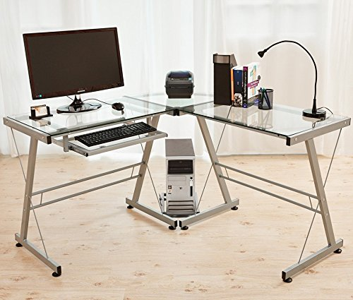 Glas-Computertisch-PC-Schreibtisch-Eckschreibtisch-Brotisch-Sicherheitsglas-Silber-Kingpower