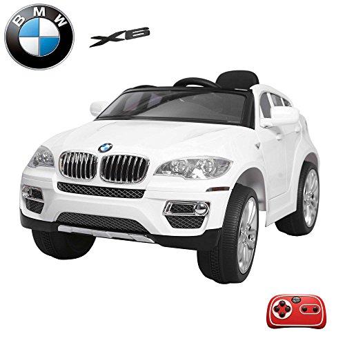 BMW-X6-Kinder-Elektroauto-Deluxe-Edition-24GHz-Fernbedienung-Multifunktionslenkrad-MP3-Anschluss-realistischen-Soundeffekten-12V-Powerakku-und-2x35W-starker-Motor-2-Speed-und-vieles-mehr-Wei