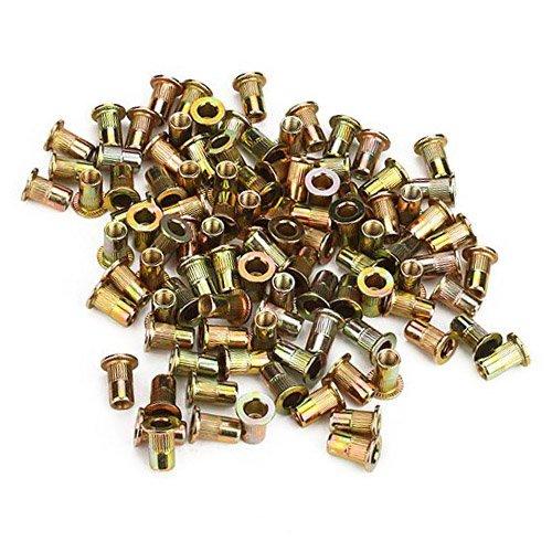 Pack of 100 M4 Flat Head Rivet Nut Length 1.1cm/0.43 inch inner diameter 0.6cm/0.24 inch