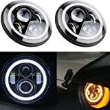 TURBO Pair Eagle Lights JK Jeep Wrangler 7 Inch Round LED Headlight White Halo For Harley Davidsion Motorcycle LJ TJ Daymaker Angel Eye & DRL LED Projection Headlight Kit for Jeep Applications