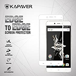 for OnePlus X Full Cover Edge to Edge KAPAVER® 2.5D Arc Edge 9H Hardness Premium Tempered Glass Screen Guard Protector (Comes with Precise Camera, Proximity Sensor, LED and Ear Piece hole) [One Plus X White ]