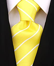 Scott Allan Mens Formal Pencil Stripe Necktie - Lemon Yellow and White