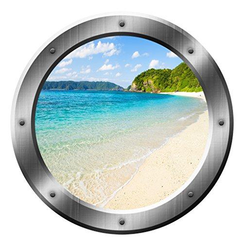 Sandy Beach Wall Decal Porthole 3D Wall Sticker Peel And Stick Decor VWAQ-SP20 (20