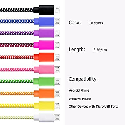 Micro USB Cable, Boxeroo 3.3ft/1m High-Speed Colorful Rugged Nylon Braided Tangle-Free with Stainless Steel Connector for Samsung, HTC, Nokia, Sony, LG, Android and More[10-Pack]