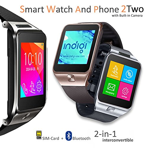 Indigi Unlocked! GSM Multimedia Wireless Bluetooth Watch Phone MP3 Spy Camera FM Radio Pedometer Sleep Tracker (Silver)