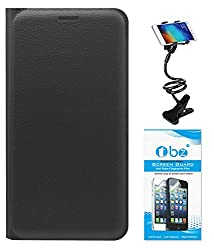 TBZ PU Leather Flip Cover Case for Samsung Z2 with Flexible Lazy Stand and Tempered Screen Guard -Black