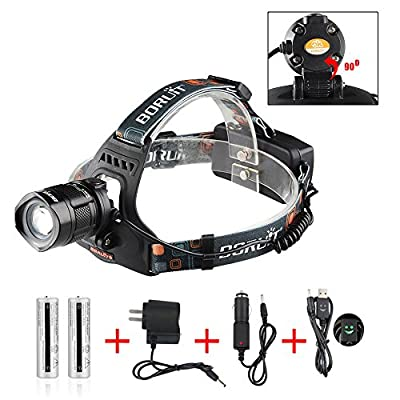LED Headlight / Headlamp for Hunting / Fishing/ Riding/ Camping /Walking the Dog; Powered By Rechargeable 18650 Batteries (Included) + A Car Charger