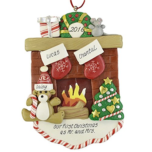 Fireplace Mantle with 2 Stockings Claydough Ornament (Fireplace Christmas Ornament compare prices)