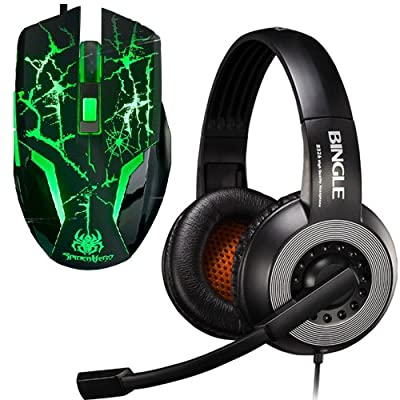 Bingle® B326E Stereo PC Notebook Pro Gaming Headset + A-jazz® 2400DPI Spider 6th 6D Wired Mouse Bundles Gaming Set