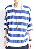 (モノマート) MONO-MART 7分袖 フライス編み ワイド ボーダー カットソー 伸縮性 BIGシルエット サマー Tシャツ ゆる シルエット 夏 爽やか MODE 涼しい メンズ ブルー ワンサイズ