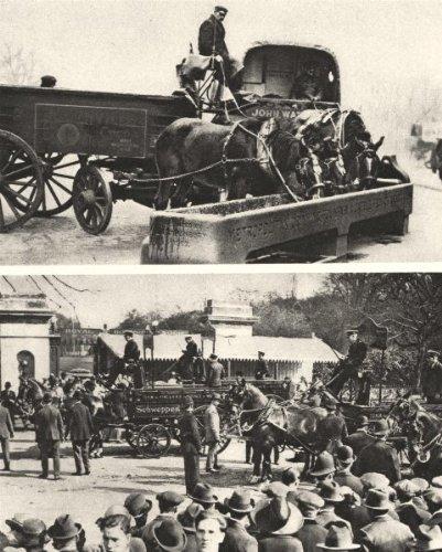 London: Horses: Drinking Fountain & A Cart Horse Parade, Vintage Print 1926