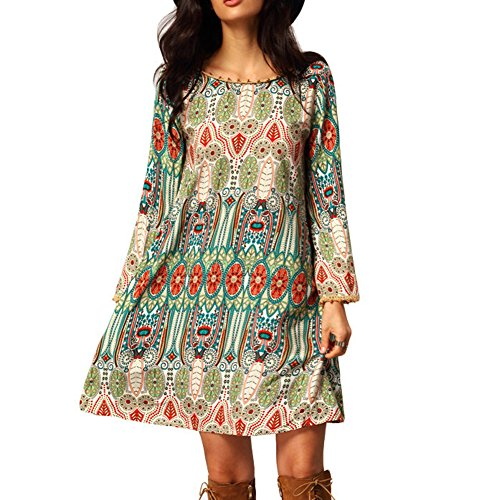 EFINNY Women's Casual Tribal Boho Babydoll Long T-shirt Mini Dress