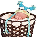 LadyMYP Handmade Knitted cap Baby cap Childrens Hat Hats 100 Wool Hat Eagle owl Blue Green