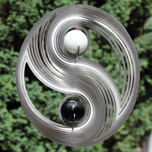 edelstahl windspiel yin yang mit zwei 35 mm glaskugeln