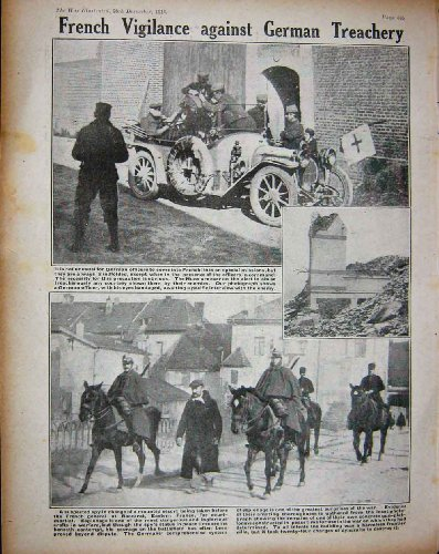 1914 WW1 French Soldiers Gun German Spy Horses Car