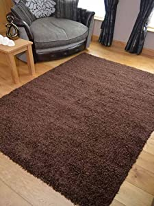 Super Shaggy Chocolate Thick Luxurious Soft 5cm Dense Pile Rug. Available in 6 Sizes (60cm x 110cm) from Rugs Supermarket