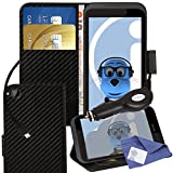 ITALKonline HTC Desire 320 Carbon Fibre Black PU Leather Executive Multi-Function Wallet Case Cover Organiser Flip with Credit / Business Card Money Holder Integrated Horizontal Viewing Stand, LCD Screen Protector and 1000 mAh Coiled In Car Charger LED I