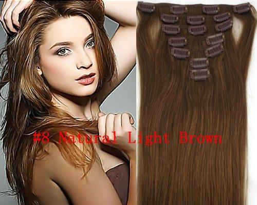Clip-In-Extensions für komplette Haarverlängerung - hochwertiges Remy-Echthaar - 70g - 38 cm -7tlg- Nr.8 Natural Light Brown