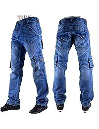 Pour Hommes, Délavé Cargo Star Jeans, Time Is Money, Coupe Droite