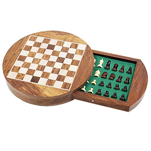 Store Indya Christmas Gifts Wooden Magnetic Chess Staunton Set with Storage Compartment & Green Felted Foam Case Classic Game