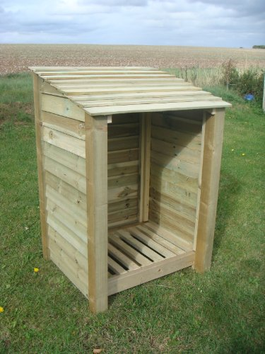 SINGLE 4FT, WOODEN LOG STORE/GARDEN STORAGE, GREEN, HEAVY DUTY, HAND MADE, PRESSURE TREATED, NATIONWIDE DELIVERY.