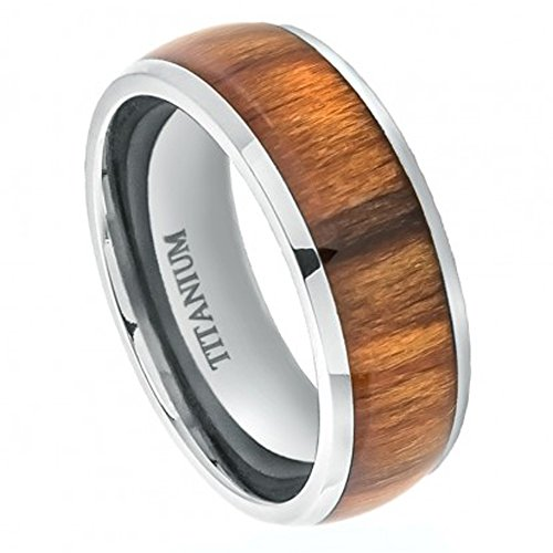 8Mm Titanium Wedding Band Ring High Polished Domed With Santos Rosewood Inlay (9)