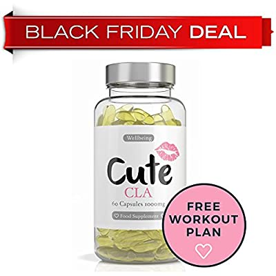 CLA Supplement Capsules - BLACK FRIDAY DEAL - 1000mg Softgels - Super Strength Natural Conjugated Linoleic Acid Pills for Women - Best Fat Burner and Muscle Builder Available- Easy To Consume Weight Loss Supplements - Bonus Training Plan