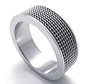 TEMEGO Jewelry Mens Stainless Steel Ring, Woven Mesh Band, Silver