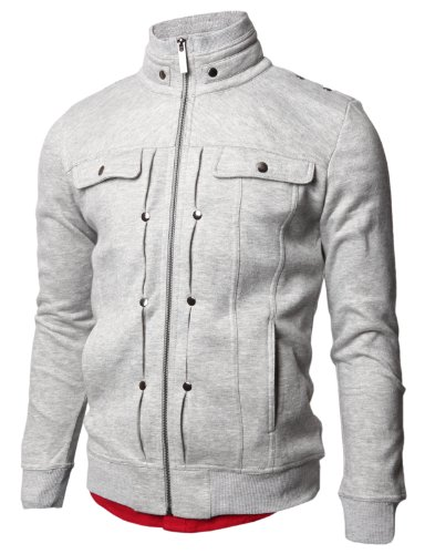 Jiniy Mens High Collar Jacket GRAY M