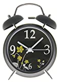 "JustNile Bedside Twin Bell Alarm Clock with Backlight - 4"" Gold Orchids on Black"