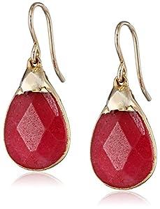 Devon Leigh Ruby-Colored Quartz in 24k Gold Foil Earrings