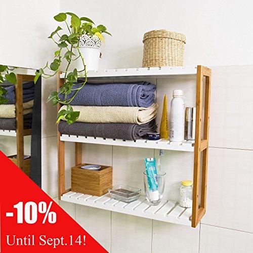 SoBuy Estanter�a de pared, estanter�a de ba�o, librer�a, estanter�a de cocina de bamb�, FRG28-WN, colore: natural/blanco