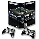 Cars 10113, Black Car, Wrap Around Skin Sticker Decal Vinyl Wrap Cover Protector with Leather Effect Laminate and Colorful Design for Xbox 360 Fat Game Console and 2 Controllers.