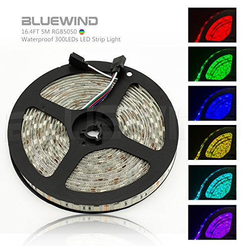 Blue Wind 16.4FT 5M SMD 5050 Waterproof 300LEDs RGB Color Changing Flexible LED Strip Light (Led Rgb Lights compare prices)