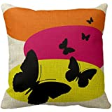 Cateyes Teen Colorful Butterfly Cotton Linen Throw Pillow Covers(18 x 18inches)