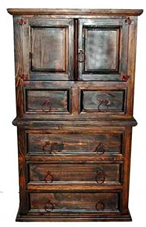 Dark Mansion Door Chest of Drawers, Rustic, Western, Real Wood, Tall Dresser