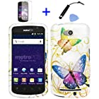 4 items Combo: Mini Stylus Pen + LCD Screen Protector Film + Case Opener + Silver Green Purple Butterfly Paisley Flower Vine Design Rubberized Snap on Hard Shell Cover Faceplate Skin Phone Case for Straight Talk Samsung Galaxy Proclaim 720C SCH-S720C / Verizon Samsung Illusion i110