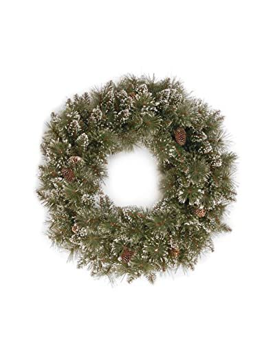National Tree Company 24 Glittery Bristle Pine Wreath with Pine Cones
